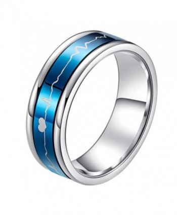 PAURO Stainless Steel 7MM EKG Heartbeat Spinner Ring Band for Men and Women- Black Blue - titanium - CF186ND457U