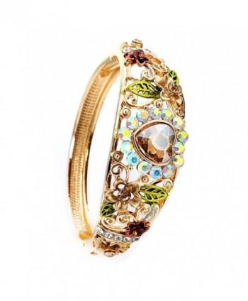 Women Heart Austrian Crystal Enamel Rose Flower Leaf Bangle Bracelet Gold Plated 5 colors - Yellow - CT1855HAYCH