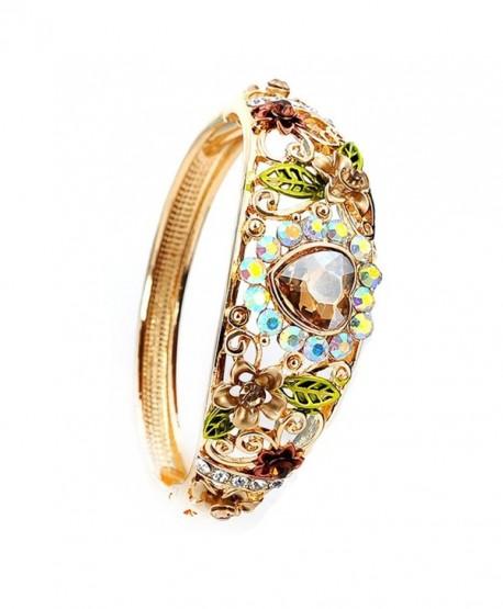 Women Heart Austrian Crystal Enamel Rose Flower Leaf Bangle Bracelet Gold Plated 5 colors - Yellow - CT1855HAYCH