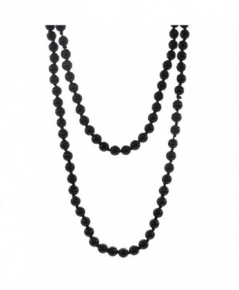 "CrazyPiercing imitation Pearls Flapper Beads Cluster Long Pearl Necklace 55"" inspired by Great Gatsby - black - C0185A368IL"