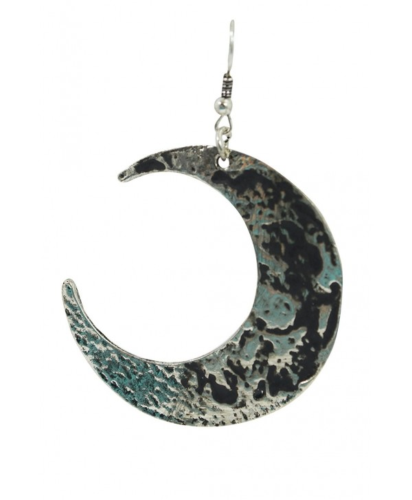 Restyle Goth Occult Textured Antique Silver Luna Large Crescent Moon Occult Witch Earrings - CU12GPJY0NT