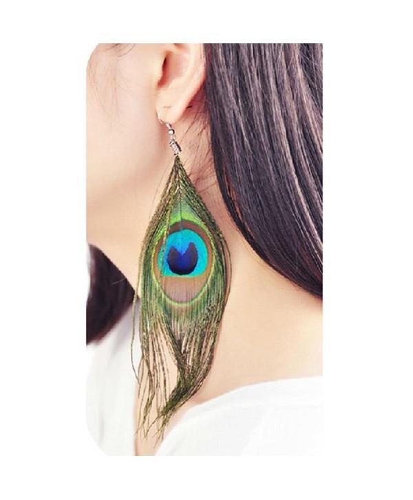 Baishitop Peacock Feather Silvery Hook Women's Drop Earrings - CJ12G4FP40H