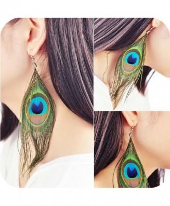 Baishitop Peacock Feather Silvery Earrings