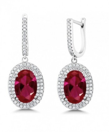 14.04 Ct Oval 12X8mm Red Created Ruby 925 Sterling Silver Dangle Earrings - CG11Q3WT8T5