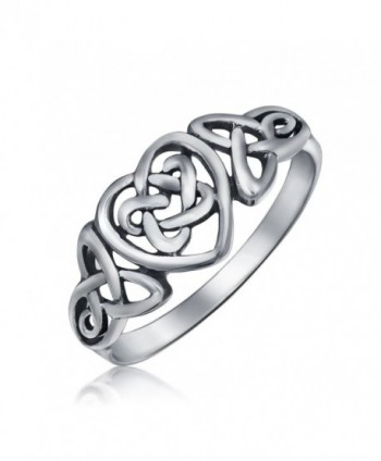 Sterling Silver Irish Celtic Knots Heart Promise Ring - CE118QFT6UD