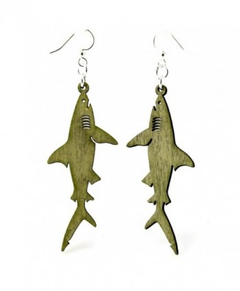 "Green Tree ""Sharks"" Renewable Natural Wood Earrings - CO11G36PM87"