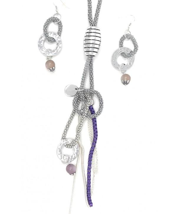 """Women's Fashion Lori Beads Popcorn Snake Chain Necklace Earrings Set- IJJWLR 36"""" - C412LWYH3S1"""