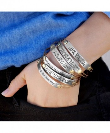 Inspirational Stack Bracelets- Inspiration Jewelry- Stacking Bangles- Motivational Quotes- Message Bracelets - CE11YMVVD2J