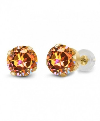 1.90 Ct Round Ecstasy Mystic Topaz 14K Yellow Gold 4-Prong Stud Earrings 6MM - CY1191JQT21