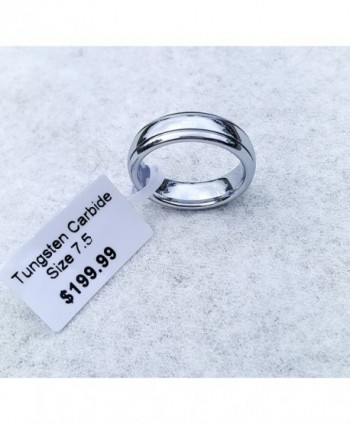 6mm Polished White Tungsten Wedding Ring for Women & Men- Double Grooved Retail Quality Comfort Fit - CY129SIEJE9