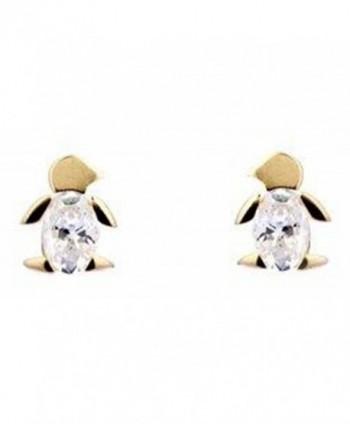 10K Gold CZ Penguin Earrings - C7118IVCLR5