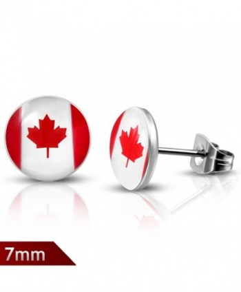 7mm | Stainless Steel Flag Of Canada Circle Stud Earrings (pair) - LEB203 - CM12NAZX5WS