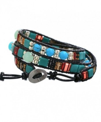 BeadChica Wrap Bracelet for Women Unique Handmade Beaded Button Lock Leather - Color 1 - CX17YR4LH5L