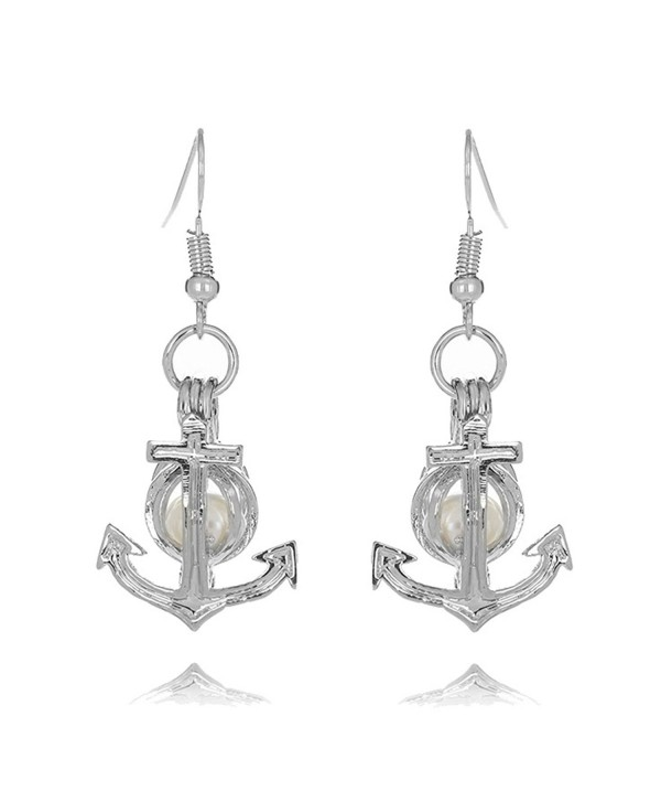 HENGSHENG Pearl Oyster Locket Cage 6-7 mm Freshwater Cultured Oval Pearls Arrow Pendant Dangle Earrings - White - C61852ASQR4