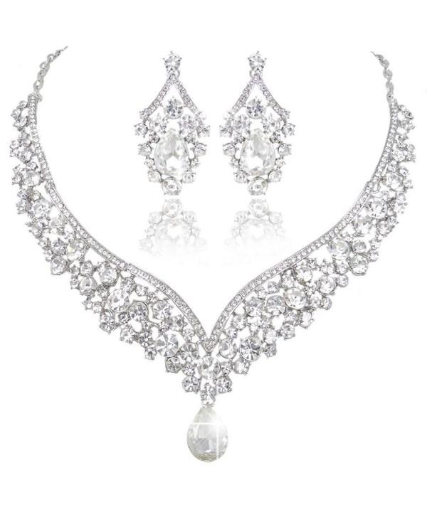 EVER FAITH Austrian Crystal Elegant V-shaped Teardrop Necklace Earrings Set - Clear Silver-Tone - CR11GQKCC8D