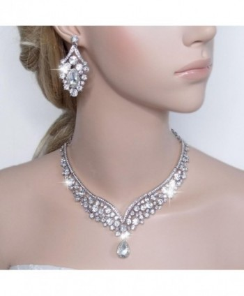 EVER FAITH Austrian V shaped Silver Tone in Women's Jewelry Sets