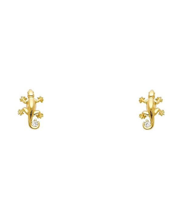 14k Yellow Gold Lizard Stud Earrings with Screw Back - CZ122E3Q7SB