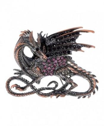 Alilang Gunmetal Tone Pink Brown Rhinestones Antique Vintage Inspired Dragon Brooch Pin - C1113T297BL