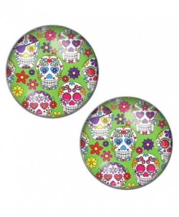 LilMents Sugar Skulls Mexican Calaveras - Green - Mens Womens Stainless Steel Stud Earrings - CC12ET5BHUZ