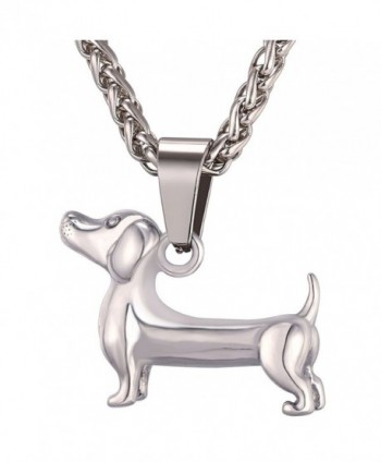 Cute Pet Dog Design Pendant Jewelry Stainless / 18K Gold Plated Dachshund Pendant Necklace - CQ17WWLD40Z