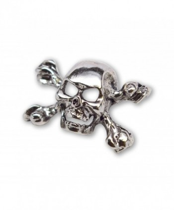 Gothic Skull and Crossbones Jacket or Hat Pin Polished Silver Finish Pewter - CG11FATP5ST