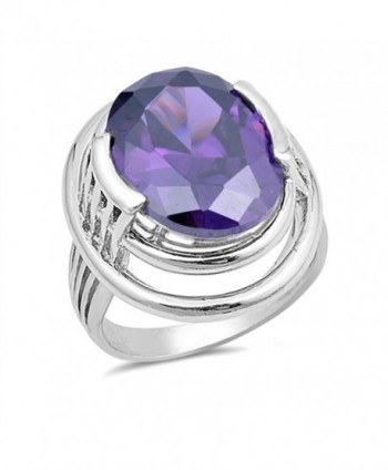 CHOOSE YOUR COLOR Sterling Silver Large Wide Ring - Simulated Amethyst - C112O5T5X7M