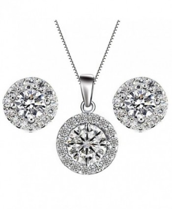 YiYi Operation Jewelry Sets Silver Necklace Earrings Chain Cubic Zirconia Women's Wedding - CJ12N2Q5BLI