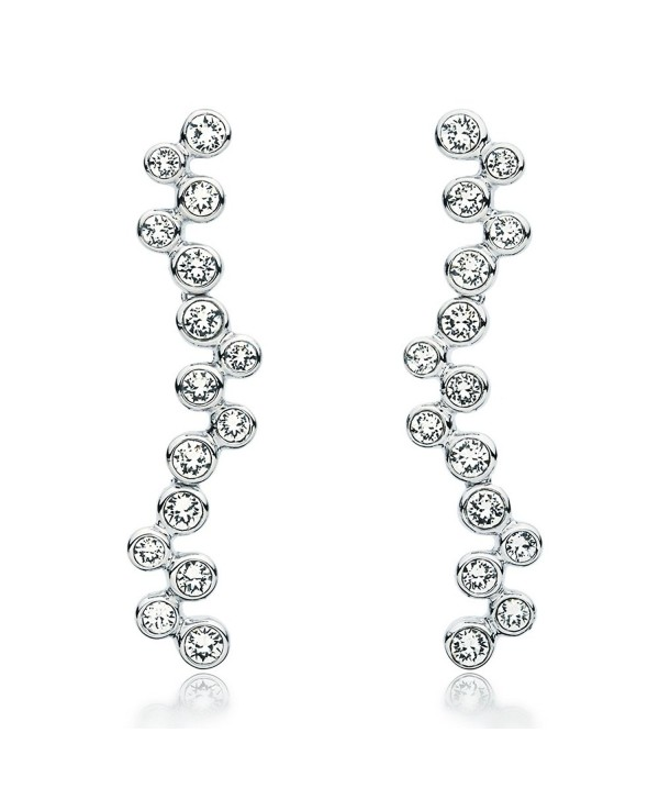 MYJS Fidelity Rhodium Plated Bubbles Dangle Drop Earrings with Clear Swarovski Crystals- - CF1230NDDTP
