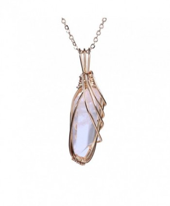 Bonnie Handmade Art Pendant Necklace Gold Wire Wrapped Rose Quartz Natural Stone Jewelry - C012LW1JACP