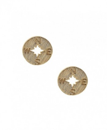 Spinningdaisy Handmade Brushed Metal Never Lost Compass Earrings - C31275QB3U9