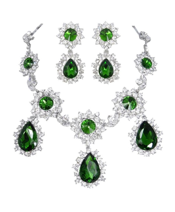 EVER FAITH Silver-Tone Teardrop Sunflower Emerald Color May birthstone Necklace Earring Set - CS11DK96CU7
