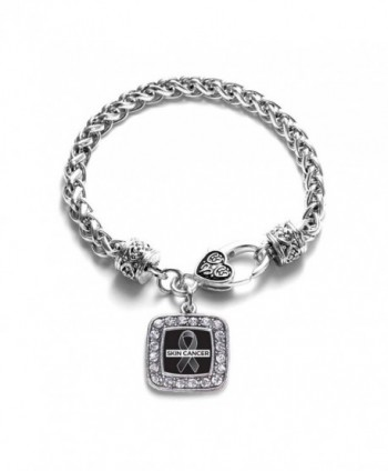 Skin Cancer Awareness Classic Silver Plated Square Crystal Charm Bracelet - CD11K6OBOXT