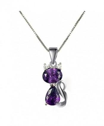 DreamsEden 18'' Silver Box Chain Women's Amethyst Cat Pendant Necklace- Purple (Gift Box & Greeting Card) - CP11XFTSKGB