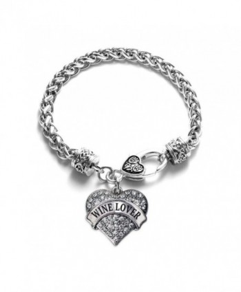 Wine Lover Pave Heart Bracelet Silver Plated Lobster Clasp Clear Crystal Charm - CT123HZTH5F