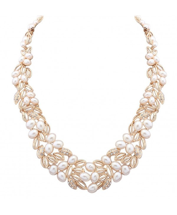 Wedding Bridal Statement Necklace Pearl Floral Leaf Branch Layer Bib Collars - gold - CH12LM9HMF5