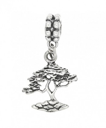 Sterling Silver Oxidized Bonsai Tree Dangle Bead Charm - CP115Y7VQTZ