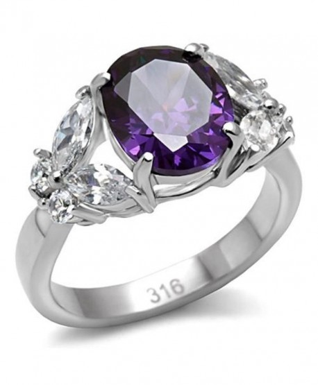 Stainless Steel Faceted Purple Oval Cubic Zirconia and Clear Butterfly Accent Ring - CW11KTIA6R1