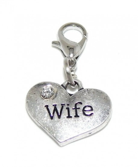 """Pro Jewelry Dangling """"Wife Heart w/ White Crystal"""" Clip-on Bead for Charm Bracelet 42888 - C111Q7QGW4L"""