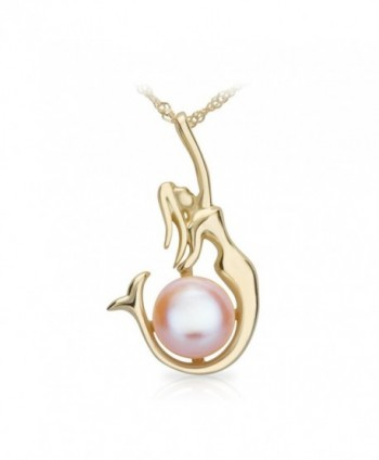 "SIFUNUO Gold Necklace Pendant Pink Pearl Pendant Necklace Mermaid Necklace 18"" - CM12MYJVJEN"
