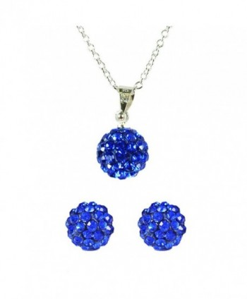 Wrapables Swarovski Elements Crystal Disco Ball Pendant Necklace and Stud Earrings Jewelry Set- Royal Blue - CZ11B0PA1VN