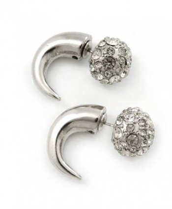 Silver Plated Faux Horn Flash Tunnel Plug Crystal Ball Stud Earrings - 2.5cm Length - CJ11D2SASX7