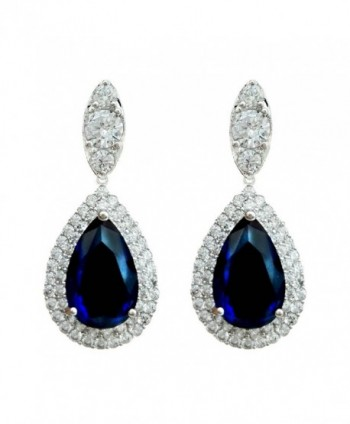 SELOVO Women Teardrop Royal Blue Sapphire Color Dangle Earrings Cubic Zirconia Silver Tone - CV12IXUNI8L