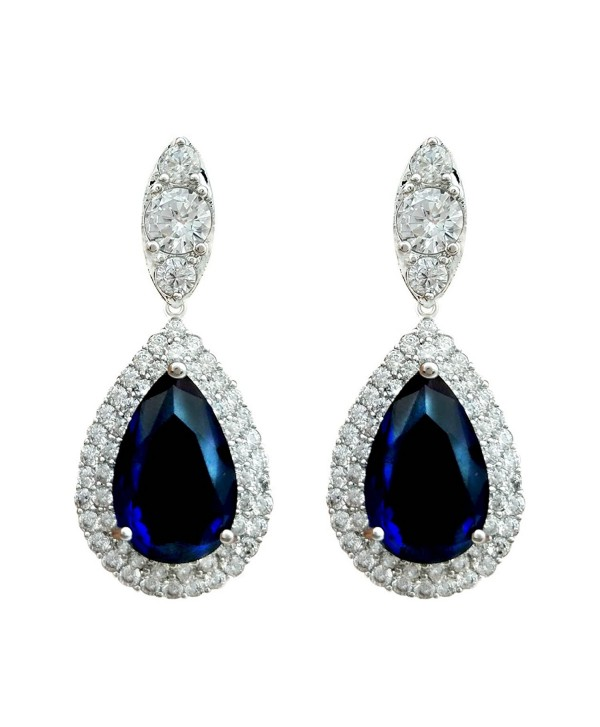 SELOVO Women Teardrop Royal Blue Sapphire Color Dangle Earrings Cubic Zirconia Silver Tone - CV12IXUNI8L