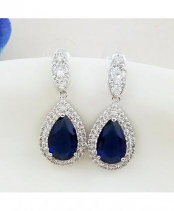 SELOVO Teardrop Sapphire Earrings Zirconia