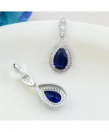 SELOVO Teardrop Sapphire Earrings Zirconia in Women's Drop & Dangle Earrings