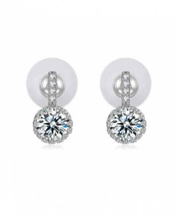 Cubic Zirconia Stud Earrings 18k White Gold-Plated Earrings Gifts for Women - VIKI LYNN - CC121B9JPDN
