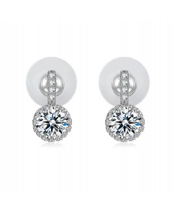 Cubic Zirconia Stud Earrings 18k White Gold-Plated Earrings Gifts for Women - VIKI LYNN - CC121B9JPDN