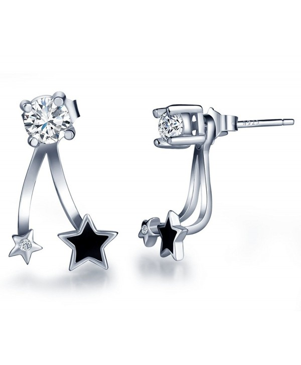 Infinite U 925 Sterling Silver Cubic Zirconia Jackets Earrings Women's Black Star Studs - CF12FNKOKG3