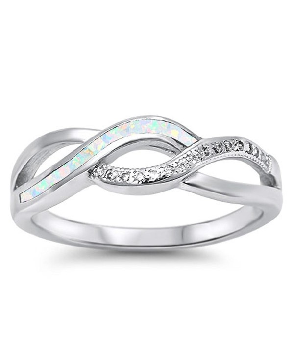 CHOOSE YOUR COLOR Sterling Silver Infinity Knot Ring - White Simulated Opal - CO12JBXHBX7