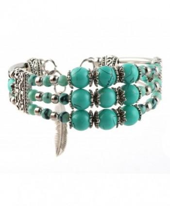 My Lucky Feathers Pendant Silver Tone Alloy Bracelet Tibetan Faux Turquoise Beads - CQ17AAI827T